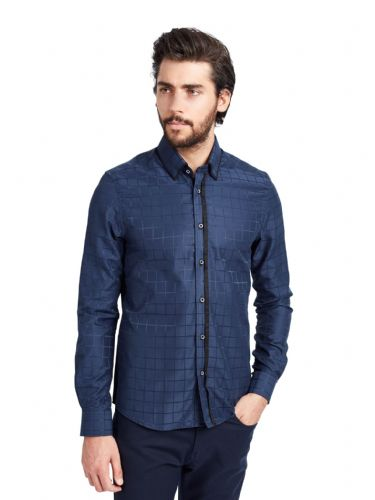 Mish Mash Men's Designer Mythic Navy Blue Long Sleeve Smart Casual Shirt